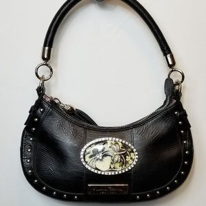 Debbie Brooks Black Studded Floral Shoulder Bag